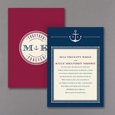 Anchors Aweigh - Invitation - Ecru Want to show off your nautical wedding style? It'll be smooth sailing when you send these ecru, nautical-design wedding invitations. You choose the colors!