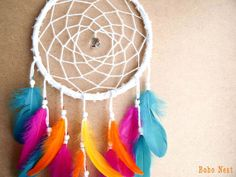 Large Dream Catcher - Rainbow - With Sparkling Crystal Prism, White Web and Colorful Feathers - Boho Home Decor, Nursery Mobile #rainbow #colorful #dream #catcher #boho #nest #home #decor #decoration #nursery