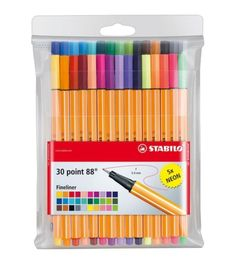 - Fine point (.4mm) pens feature water-based ink in vibrant colors - For fine writing, drawing, and sketching - Ideal for working with rulers and stencils - Hexagon shape for no-roll confidence - Plas