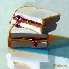 """PB & J sandwich by Leigh-Anne Eagerton; oil on panel 