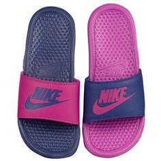 Nike Benassi JDI Mismatch Slide - Women's at Lady Foot Locker Nike Flats, Nike Slippers, Nike Sandals, Sneakers Nike, Sneakers Women, Casual Sneakers, Sneakers Fashion, Nike Benassi Slides, Nike Flip Flops