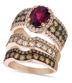 Le Vian Diamond and Garnet stackable rings in 14K Rose Gold
