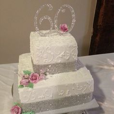 Sparkles in Elegance Buttercream Wedding Cake Take away the 60 and ...