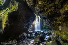 Waterfall inside of cave. Curug Peri, Purwokerto, Indonesia