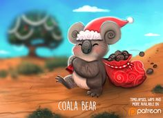 Daily Paint Coala Bear by Cryptid-Creations Daily Paint Coala Bear by Cryptid-Creations Cute Animal Drawings, Cute Animal Pictures, Kawaii Drawings, Cute Drawings, Disney Drawings, Animal Puns, Cute Puns, Christmas Art, Aussie Christmas