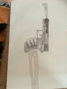 Deze les ben ik bezig geweest met het maken van het skeletten hoofd dat uit het geweer komt. Het arceren van het hoofd kan nog beter worden, dus daar ga ik volgende les aan verder