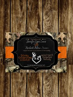 Camo Wedding invite by TenderHearted13 on Etsy