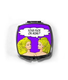 Rude, Funny, Lesbian Compact Mirror (Your Face or Mine)! Lesbian Humor, Lesbian Gifts, Lesbian Art, Quirky Gifts, Lesbian Wedding, Stocking Fillers, Compact Mirror, Creative Gifts, Cosmetic Bag