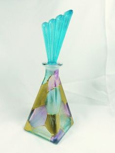 Italian Crystal Perfume Bottle Decanter Hand Painted Original Sticker | eBay