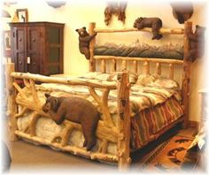 Hand carved bear bed