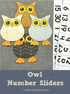 Owl number sliders for number recognition and review. Early Learning Activities, Number Activities, Classroom Activities, Number Recognition, Math For Kids, Fine Motor Skills, Sliders, Card Stock, Numbers