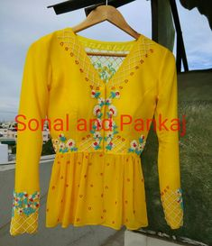Beautiful sun shine yellow color designer blouse with full sleeves. Blouse with hand embroidery thread work. House Of Blouse, Saree Blouse Patterns, Biryani Recipe, Sun Shine, Full Sleeves, Thread Work, Woman Clothing, Embroidery Thread, Designer Wear