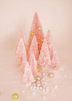 pretty in pink christmas. I have a collection of pink bottle brush Christmas trees. Pink Christmas Tree, Shabby Chic Christmas, Noel Christmas, Winter Christmas, All Things Christmas, Vintage Christmas, Xmas Trees, Flocked Trees, Christmas Mantles