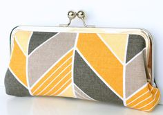 Gelbe und graue Chevron Clutch - Clutch in gelb und grau Chevron Print Canvas-Gewebe Kosmetikbeutel Frame - Kosmetikbeutel Kupplung