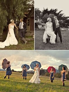 Bride and Groom and then bridesmaids with umbrellas