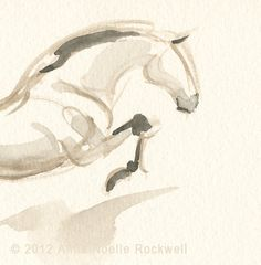 Jumping Horse Art Original Painting by Anna Noelle by annarockwell, $85.00