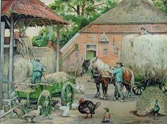 Working at the farm. Holland, Cottage Art, Painting People, Vintage School, Dutch Artists, Country Art, Country Style, Naive Art, Art For Art Sake