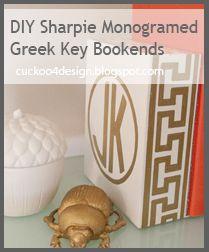 DIY Greek key bookend. Monogram gold.