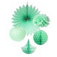 SUNBEAUTY Pack of 5 Mint Green Tissue Paper Pom Poms Paper Fan Paper Honeycomb Balls Drops Paper Lanterns Party Wedding Decor