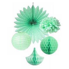 SUNBEAUTY Pack of 5 Mint Green Tissue Paper Pom Poms Paper Fan Paper Honeycomb Balls Drops Paper Lanterns Party Wedding Decor