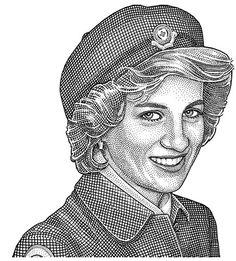 Stipple portrait of Diana Princess of Wales by Ekaterina Shulzhenko.