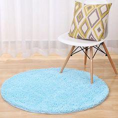 TMJJ Round Shaped Chenille Carpet Computer Chair Pad Floor Mat Antiskid Bath Mats Home Decoration Living Room Bedroom Area Rugs