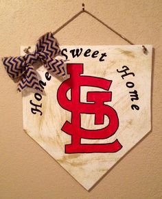 Home sweet home baseball home plate sign with arched letters and stl logo. st louis cardinals decor, home sweet home sign, stl cardinals