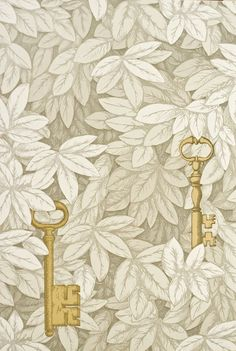 The tea room's other powder room would have to be this paper. Chiavi Segrete in cream by Cole & Son