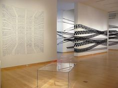 Pablo Siquier installation view, DePauw University exhibition, White Noise, 2009. Black And White Canvas, Contemporary Artists, Art Gallery, University, Architecture, Design, Home Decor, Arquitetura, Art Museum