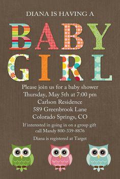 owls baby shower invitations