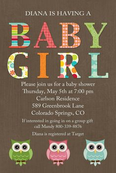 owls baby shower invitations