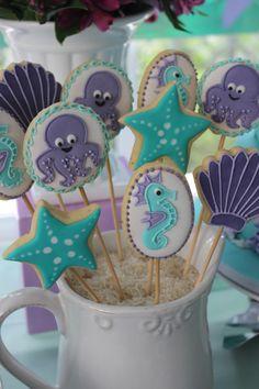012 13th Birthday Parties, Birthday Table, 1st Birthday Girls, Little Mermaid Parties, The Little Mermaid, Mermaid Birthday, Craft Party, Under The Sea Party, First Birthdays