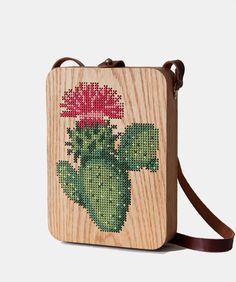 Cactus Stitched Oak Wood Bag by Grav Grav - $510