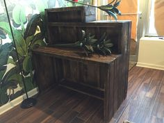 Pallet Wood Reception Desk in nail salon by Cowboy Jeff Custom Wood Furniture, Reclaimed Wood Furniture, Pallet Wood, Wood Pallets, Entryway Tables, Reception, Desk, Nail, Yoga