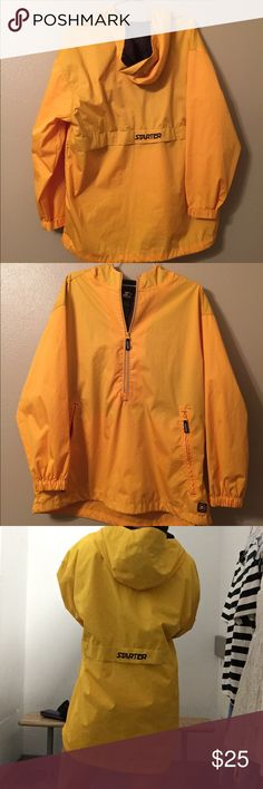 Vintage starter jacket raincoat 90s style men's L Not Nike. Men's L (I am a female 5'6 modeling ) vintage 90s windbreaker starter raincoat jacket. Half zip/toggles at bottom to make smaller. Yellow w/ navy blue starter logo. Great condition, see last photo only one small flaw (the inside lining is sort of a grid pattern which is transparent lightly through the coat and a portion of the squares are a darker color , not noticeable but did want to point it out the hood sort of covers it when…
