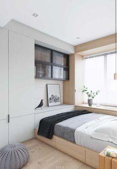 Cama com gavetas e armário embutido Bedroom Door Design, Small Bedroom Designs, Small Room Design, Home Room Design, Small Bedroom Furniture, Small Room Bedroom, Home Bedroom, Bedroom Decor, Master Bedroom