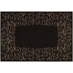 Safavieh Courtyard Curly Vines Indoor Outdoor Rug, Black