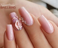 Wedding Nails-A Guide To The Perfect Manicure – NaiLovely Cute Acrylic Nails, 3d Nails, Pink Nails, Bride Nails, Wedding Nails, Gorgeous Nails, Pretty Nails, Nail Art Strass, 3d Nail Designs