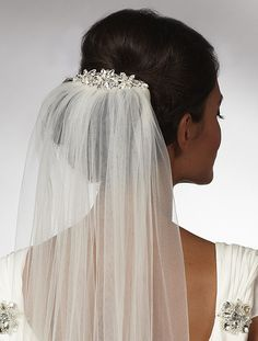 Diamante & Crystal Star Design Bridal Veil Comb
