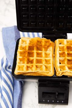 You are going to love these classic vegan waffles! They are super quick and easy to make and they are golden crispy on the outside and perfectly fluffy on the inside. They make the perfect vegan breakfast! Cookie Recipes, Vegan Recipes, Vegan Meals, Dairy Free Waffles, Healthy Waffles, Vegan Bread, Vegan Breakfast, Classic, Easy
