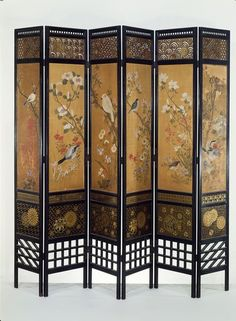 Screen    Place of origin:  London, England (made)   Japan (painted paper panels, made)    Date:  1867 (made)    Artist/Maker:  Nesfield, William Eden, born 1835 - died 1888 (designer)   Forsyth, James, born 1827 - died 1910 (maker)    Materials and Techniques:  Ebonised wood, with gilt and fretted decoration and painted panels of Japanese paper