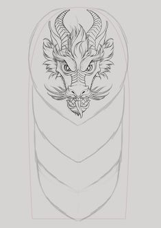 A commissioned Chinese dragon design for a half-sleeve tattoo. The dragon's head was modified a few times before the final design was settled upon.
