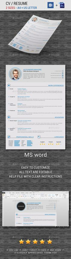 Experience - CV\/Resume PSD Template Psd templates - microsoft office 2010 resume templates