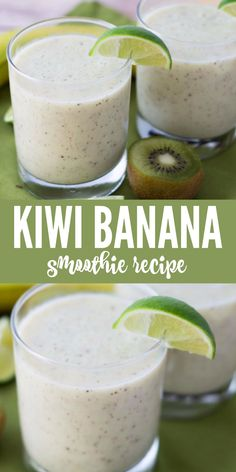 Drink Recipes 503206958364887828 - This delicious kiwi banana smoothie is the perfect combination of sweet and tangy. It's absolutely loaded with potassium and is a great way to start your day. Drink up! Kiwi Banana Smoothie, Chocolate Banana Smoothie, Kiwi And Banana, Chocolate Smoothie Recipes, Banana Drinks, Strawberry Banana, Easy Smoothies, Smoothie Drinks, Fruit Smoothies