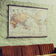 The World - Pull Down Map by erstwhile $329 Down that little lane