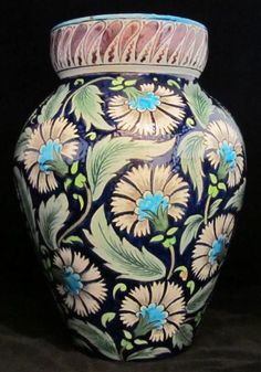Image of William De Morgan Substantial Vase in Persian Colourway decorated with Carnations. Unmarked. Hole to base filled at the time of manufacture. Ex Harriman Judd
