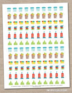 Household Printable Planner Sticker Instant Download PDF with Dishes Vacuum Laundry Grocery Shopping