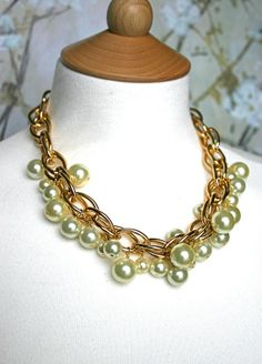 Chunky pearl necklace big pearl necklace by ILoveHoneyWillow, $55.00