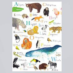 Animal Alphabet Illustration Print by Faye Bradley Illustration, the perfect gift for Explore more unique gifts in our curated marketplace. Alphabet Print, Animal Alphabet, Pigment Ink, Color Show, Little Ones, Gifts For Kids, Playroom, Art For Kids, Kids Room