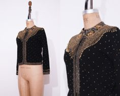 1950s black beaded sweater / Vintage 50s wool angora by Ainshent, $49.00